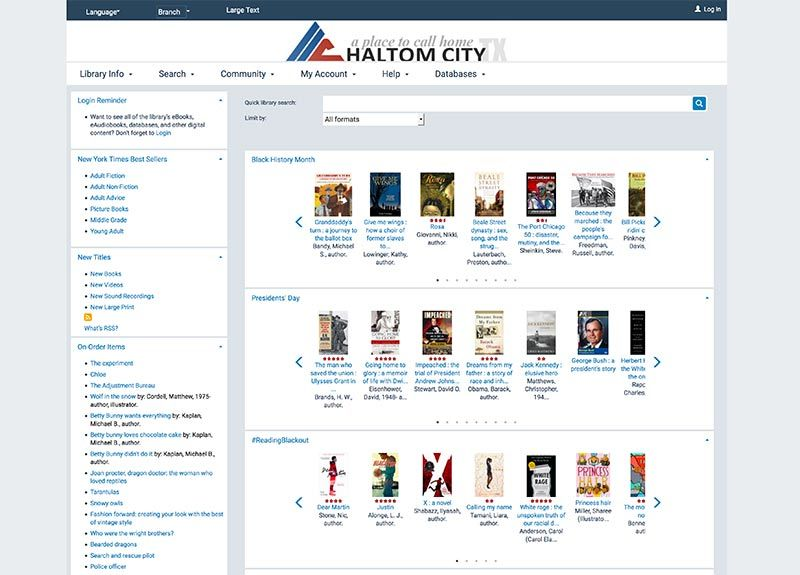 haltom city public library online services