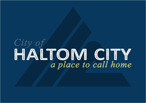 haltom city texas logo white on blue cityof color logo