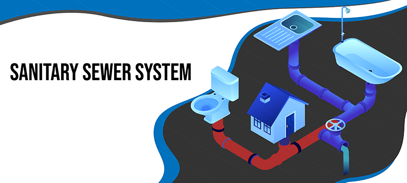 Saniatary sewer system illustration
